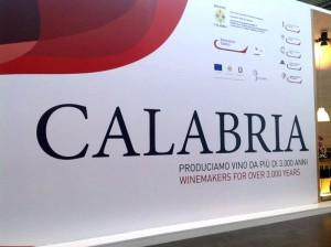 Il pannello del padiglione Calabria al Vinitaly 2014