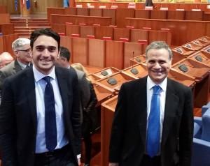 Il presidente del Consiglio regionale della Calabria, Nicola Irto con l'ambasciatore italiano a Vienna, Giorgio Marrapodi.