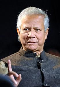 """Muhammad Yunus (""""il banchiere dei poveri""""). Economista, ha ideato e  realizzato il  microcredito moderno:  un sistema di piccoli prestiti destinati ad imprenditori troppo poveri per ottenere credito."""