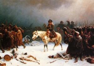 Nella foto del primo piano Napoleone Bonaparte e la disastrosa campagna di Russia del 1812.