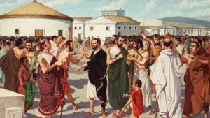 Qui e nella foto del primo piano momenti della democrazia ateniese. La democrazia greca (in particolare quella ateniese) è la prima forma di governo democratico della storia occidentale. Nasce nel 508 a.C. con la riforma politica promossa da Clistene e, successivamente, con le riforme di Efialte e Pericle, raggiunge il massimo grado di maturazione