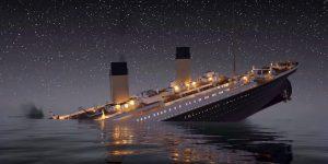 Il Titanic mentre s'inabissa